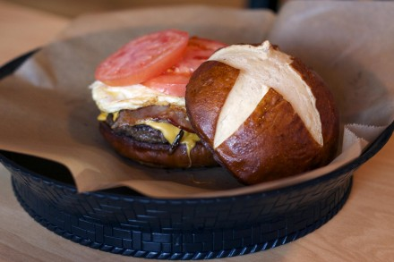Salvation on a pretzel bun.
